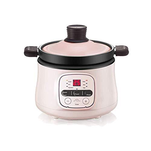 ZOBOLA Elektrische Casserole Elektro Slow Cooker 0,7 Quart Kleine Kapazität Geeignet for Neue Mutter Nahrungsmittelhersteller einstellbare Zeit (Color : Pink)