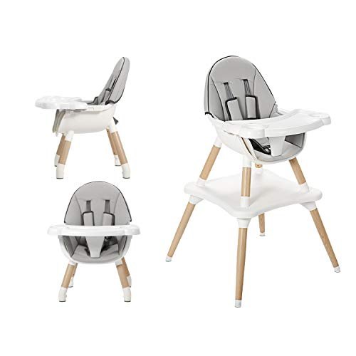 FOUJOY Wooden Baby Dining Chair High Chair 3 in 1 Convertible Toddler Chair Customeriazed Toddler Dining Chair Luxury Beech Kids Feeding Chair for 6 Month-3 Years (Grey)