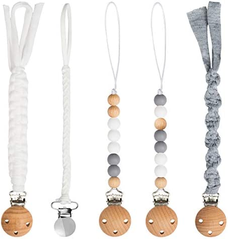 5 Pack Babies Pacifier Clips 9 1 Inch Pacifier Leashes Metal Teething Clips Teether Toy with product image