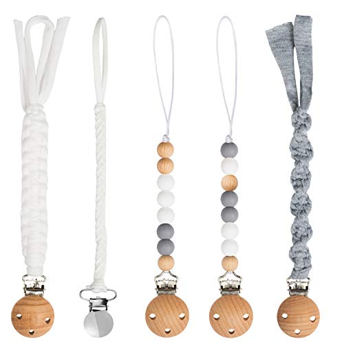 5 Pack Babies Pacifier Clips 9.1 Inch Pacifier Leashes Metal Teething Clips Teether Toy with Braided Cotton Rope Chewbeads Pacifier Toys for Baby Boys Girls Baby Shower Birthday Christmas