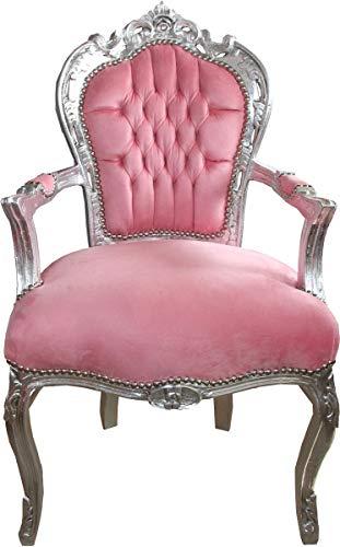 Casa Padrino Silla de Comedor barroca reposabrazos Rosa Claro/Plateado - Muebles Estilo Antiguo