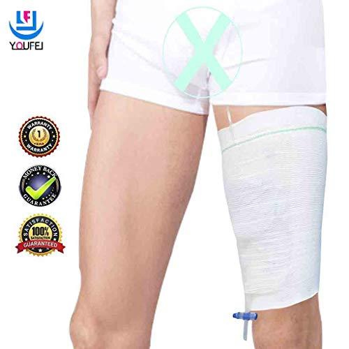 Beinbeutel für Urin Beinhalter Harninkontinenz Bein Tasche Halter Zubehör Komfortabel Beinbeuteltasche Carebag waschbar und wiederverwendbar (2 Stück)-L