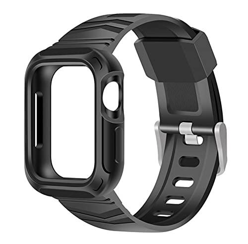 WSGGFA Correa transparente + funda para Apple Watch 5 Band 40 mm silicona deportiva Loop Series 6 SE 5 4 correa 40 mm 44 mm plástico (color de la correa: Blsck, ancho de la correa: 44 mm)