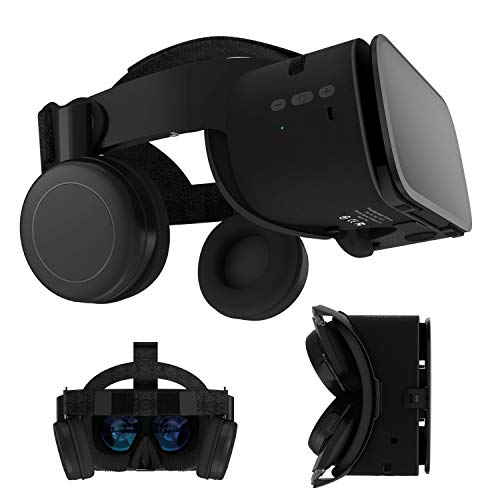 3D Virtual Reality Headset, 3D VR Glasses Viewer w/ Bluetooth Headphones for iOS iPhone 12 11 Pro Max Mini X R S 8 7 Samsung Galaxy S10 S9 S8 S7 Edge Note/A 10 9 8 + Other 4.7-6.2' Cellphone, Black