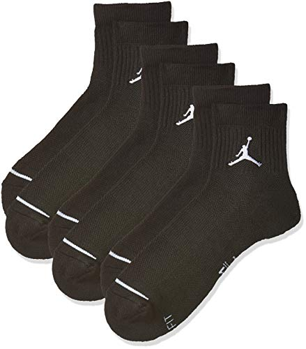 Nike U J EVERYDAY MAX ANKL 3PR Socks, Black, L