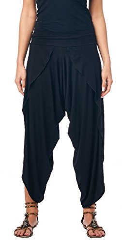 Popana Women's Casual Summer Boho Harem Jogger Pants Gaucho Culottes Made in USA Large Black