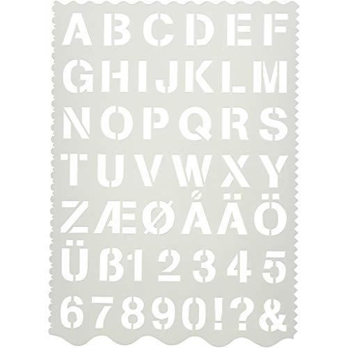 Plantilla de formas, hoja 21x29 cm, A. 2,6 cm, Letras y números, 1ud