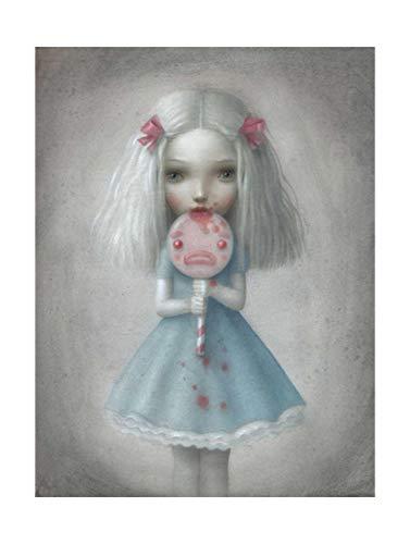 WJWGP Nicoletta Ceccoli Pop Arte De La Lona Imprimir Chica MuñEca Surrealismo Poster Resumen Pintura Hadas Cuento Mundo Pared Arte Cuadros Decoracion 40x60cm No Marco