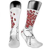 XCNGG Calcetines de compresión media pantorrilla calcetín, Amante de las cabras Manojo de corazón Ramo San Valentín Luna de miel Boda Caricatura Gráfico
