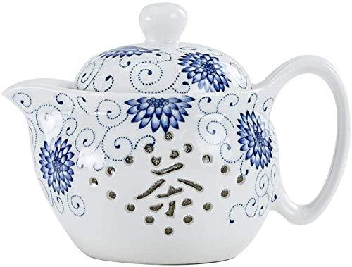ZQADTU Tetera con colador Tetera Tetera de cerámica Juego de té Tetera Linglong Tetera de Filtro de Porcelana Azul y Blanca