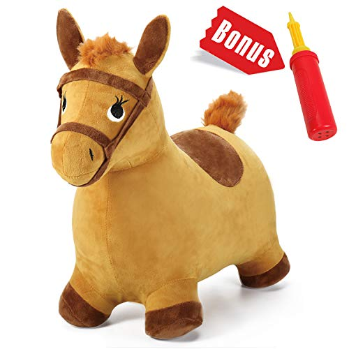 iPlay, iLearn Yellow Hopping Horse, Outdoors Ride On Bouncy Animal Play Toys,...