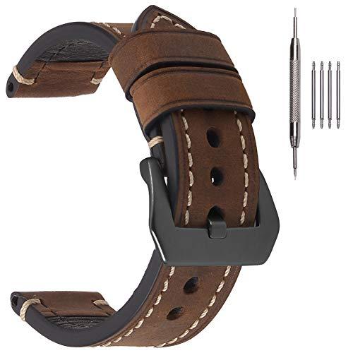 EACHE 22mm Bracelets de Montre en Cuir pour Hommes Crazy Horse véritable Bracelets de Montre en Cuir épais Marron foncé avec Boucle Noire