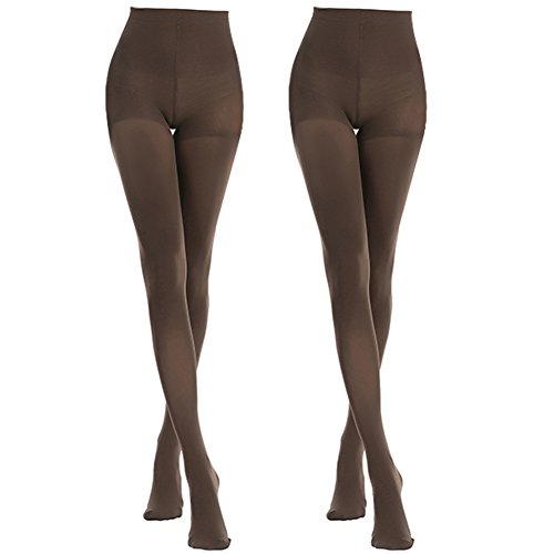 MANZI Women's 2-6 Pairs Classic Opaque Control-Top Tights with Comfort Stretch 70 Denier, XL, Coffee-2 Pairs
