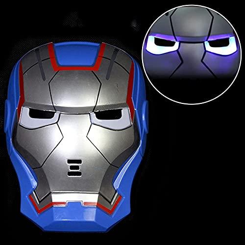 WXHJM Cascos de Iron Man,Usable y Luminosa Película de Juguete Vengadores Modelo de Juguete Máscara,Accesorios de Disfraces de Cosplay para La Fiesta de Halloween Mascarada,One Size