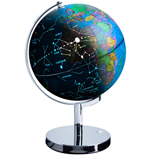 USA Toyz LED Illuminated Globe of The World with Sturdy Chrome Stand - 13.5 Inch Tall Educational Interactive Globe STEM Toy, Light Up Globe Lamp, Constellation Globe Night Light LED Decor