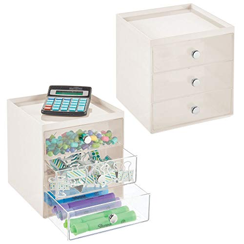 mDesign Organizador de Escritorio con 3 cajones – Cajonera pequeña para bolígrafos, Clips, Notas, etc. – Compacto gavetero de plástico para Mesa de Oficina – Juego de 2 – Crema y Transparente