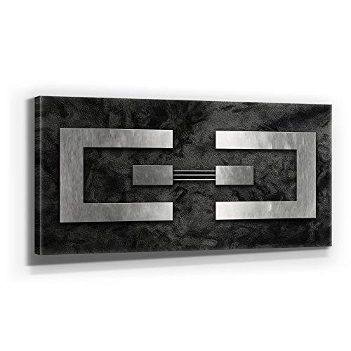 Jack DYRELL Silber AUF Granit - XXL Bild - Kunst - XXL 110 x 50cm, Leinwand auf Holzrahmen aufgespannt, UV-stabil und wasserfest, XXL Deko Bild abstrakt FineArtPrint Wandbild für Büro oder Wohnzimmer