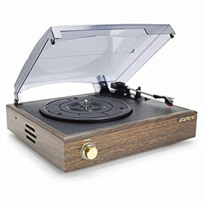 Mpooling Retro Wooden Record Player 3 Speed Turntable with Bulit in Speaker Recording Vinyl to MP3 RCA Line Out(Brown)
