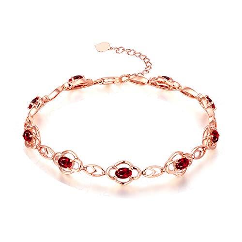 KnSam Gold Armband 18 Karat Armband Gold 750 Damen Elegant Verlobung Armkette Aus 18 K Gold Mit 2.65Ct Rot Rubin Und Diamand Rot