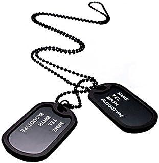 米軍 認識票 ブラック 黒 ドックタグ 2 プレート レプリカ メンズ アーミー ネックレス ペンダント 刻印 名入れ 不可