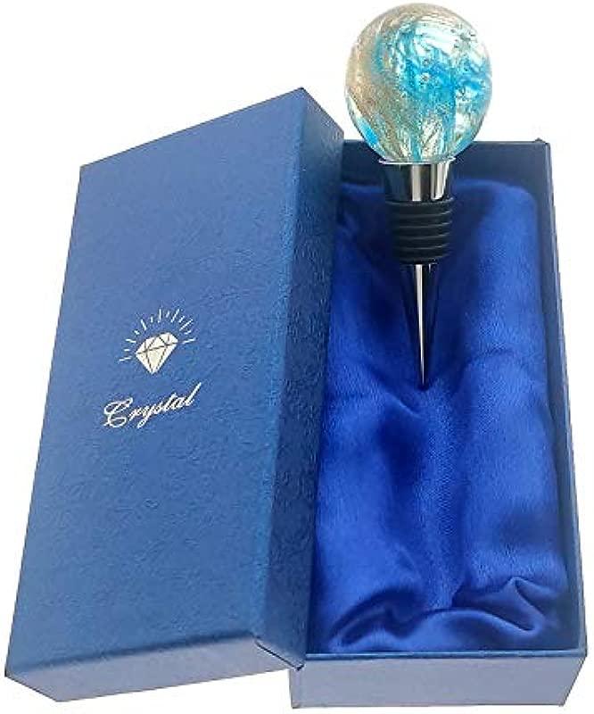 Fantacy Murano Glass Blue Ball Bottle Stoppers For Wedding