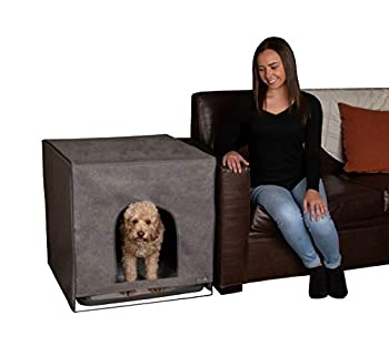Pet Gear Pro Pawty Potty Training Aid for Pee Pad/Grass Patch Removable Tray Holds Pad Included Hides Messes Optional Wall Guard Dog Litter Box Pro Pawty ONLY- Medium Charcoal
