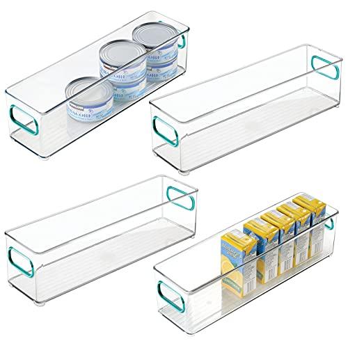 mDesign Juego de 4 fiambreras para el frigorífico – Cajas de plástico para guardar alimentos – Organizador de nevera estrecho para lácteos, frutas y otros alimentos – transparente/azul