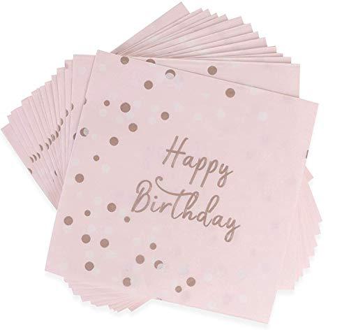 EKKONG 48 Stück Servietten Geburtstag Rosegold, Happy Birthday Servietten, Servietten Geburtstag Rosa Gold für Mädchen Geburtstag Dinner Party Favors Supplies 33x33cm