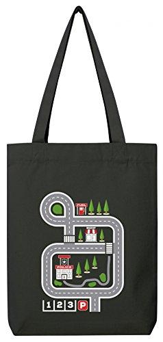 ShirtStreet Kinderteppich Straßenmotiv Premium Bio Baumwoll Tote Bag Jutebeutel Stanley Stella Auto Spielteppich, Größe: onesize,Black