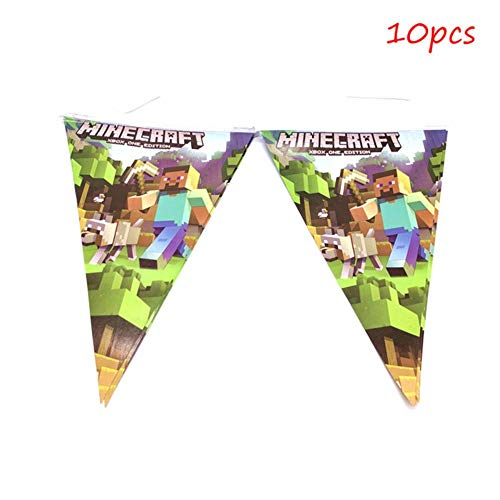chenn Mining Pixel Game Plates Tablecloth Baby Shower Birthday Party Decoration Supplies Flags Cups Napkin,Banner-10pcs