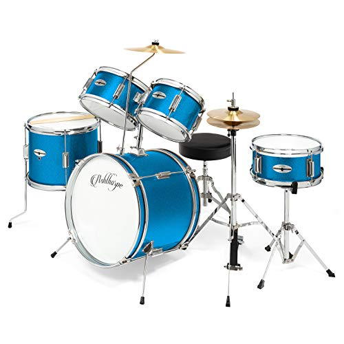"Ashthorpe 5-Piece Complete Kid's Junior Drum Set with Genuine Brass Cymbals - Children's Advanced Beginner Kit with 16"" Bass, Adjustable Throne, Cymbals, Hi-Hats, Pedals & Drumsticks - Blue"
