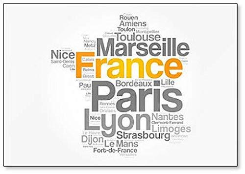 Imán para nevera con diseño de la nube de ciudades de Francia, mapa