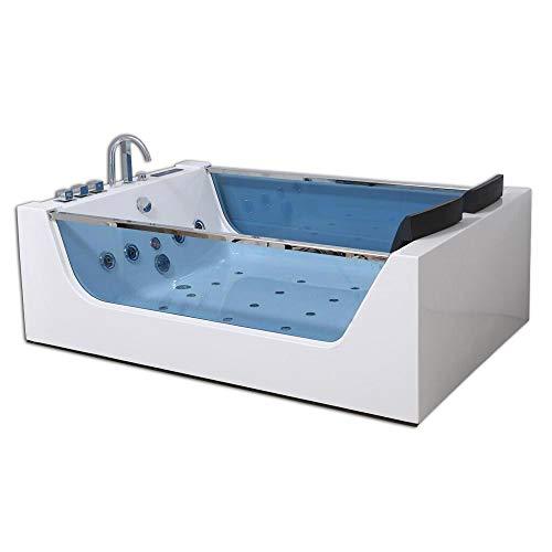 Home Deluxe - Whirlpool Badewanne - Atlantic XL weiß mit Heizung und Massage - Maße: 180 x 120 x 60 cm | Wanne für 2 Personen, Indoor Jacuzzi