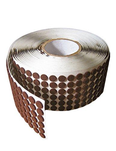 "Brown Adhesive Kiss Cut Felt Button Rolls: Medium-Duty - 3/8"" Dia, 1/16"" Thick (12000 Pcs)"