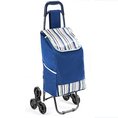 Trolley portátil del hogar, Compras, Carro pequeño, Plegable supermercado Cesta de la Compra, Que Sube el acoplado de la Carretilla (Color : Blue)