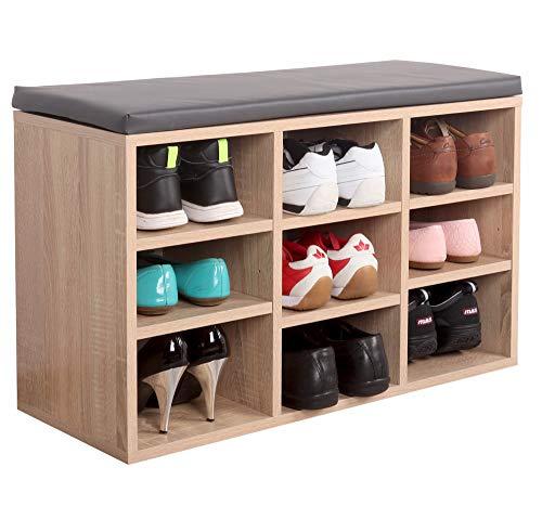 RICOO WM035-ES-A Schuhregal 79x49x30 cm Holz Eiche Sonoma Sitzbank mit Stauraum Schuhschrank mit Sitzkissen Schuhbank für Flur Schuhablage