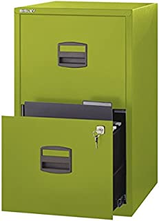 Bisley Two Drawer Steel Home or Office Filing Cabinet, Green (FILE2-GR)