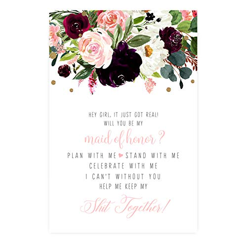 Ruby Floral Be My Bridesmaid Cards (8 Pack) Maid of Honor and Matron - Stand With Me - Asking My Best Friends - I Can't Without You Matron of Honor - Bridal Proposal Invite Set with Pink Envelopes
