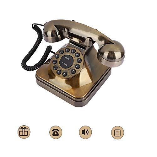 Denash Teléfono con Cable Retro, Teléfono Fijo de Escritorio Teléfono con Cable Retro Vintage Estilo Europeo con Sonido Claro para el Hogar/Hotel/Oficina
