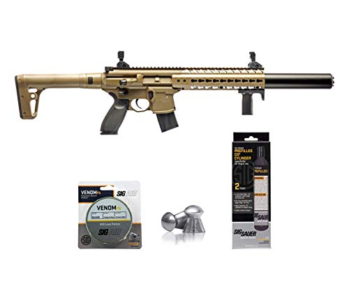 SIG Sauer MCX .177 Cal CO2 Powered Advanced Air Rifle with CO2 90 Gram (2 Pack) and 500 Lead Pellets Bundle (FDE, Folding Sights)