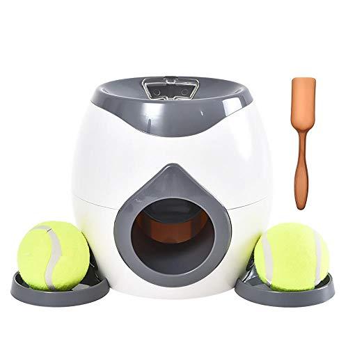 Lanzador de bolas automático interactivo Juguete para perros, Juguete de recompensa interactivo Perros Pelota de tenis Lanzador automático Dispensador de comida para perros Juego Juguetes para perros