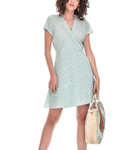 TONALA | Vestido Mujer Casual Boho Corto Manga Corta (Estampado Verde Agua Y Blanco Roto, l)