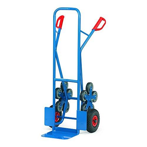 Fetra TK1327 Stahlrohr-Treppenkarre, Traglast 200 kg, Schaufel T 320 x 250 mm, 2 Räder Lufbereifung mit 2 fünfarmige Radsterne, H x B 1300 x 590 mm, blau