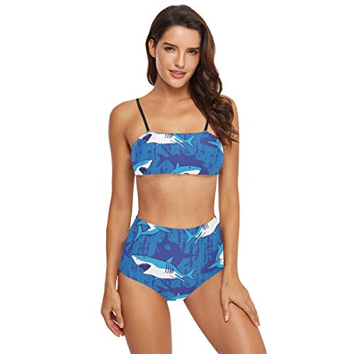 Badeanzug mit hoher Taille, Damen-Bikini – Haifisch-Badeanzüge für Teenager und Mädchen Gr. S, multi