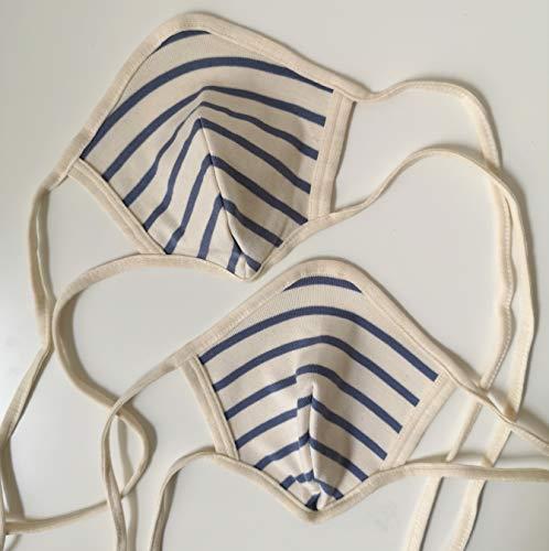 2 Stück - Mund-Nasen-Maske - waschbar aus weicher Baumwolle – SOFORT LIEFERBAR - Gesichtsmaske waschbar – handgemacht in Deutschland – Maske zum binden