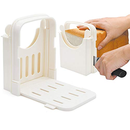 Amyhome Bread Slicer,Adjustable Toast Slicer Toast Cutting Guide Folding Bread Toast Slicer Bagel Loaf Slicer Sandwich Maker Toast Slicing Machine with 5 Slice Thicknesses