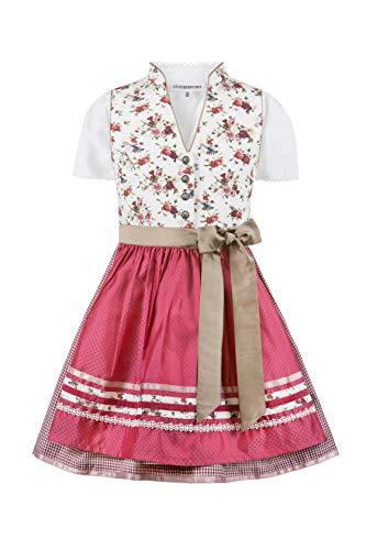 Stockerpoint Mädchen Kinderdirndl Lisa Kleid für besondere Anlässe, Creme-Fuchsia, 98-104