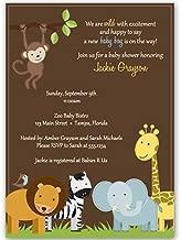 Jungle Baby Shower Invitations, Baby Boy, Safari, Zoo Animals, Giraffe, Monkey, Elephant, Lion, Wild with Excitement Brown, Jungle Jack Custom Printed Invites (10 Pack)
