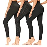 SYRINX 3 Pack Womens Leggings - High Waisted Opaque Slim Tummy Control Printed Pants for Workout Running Cycling