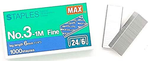 MEselected Grapas de remache planas MAX n.o 3-1M (24/6) para grapadora de oficina - 4 cajas (4000 grapas)